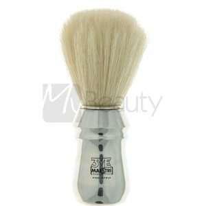 Pennello Da Barba Professionale Cromato Lucido Setola Sbiancata 3Me Gentlemen'S Barber Club MAESTRI